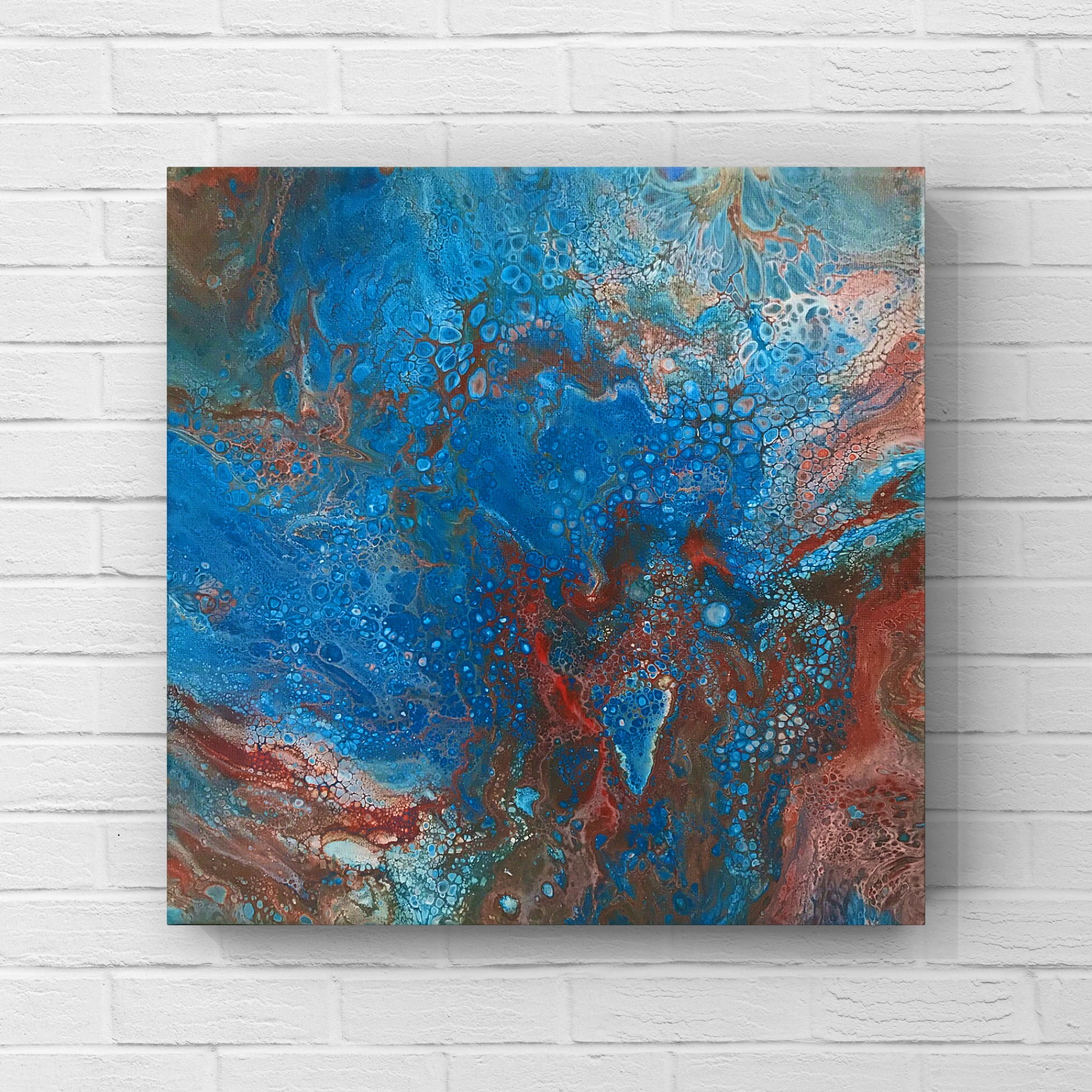 Harvey Abstract Acrylic Pour Painting 12 by 12 Original Artwork