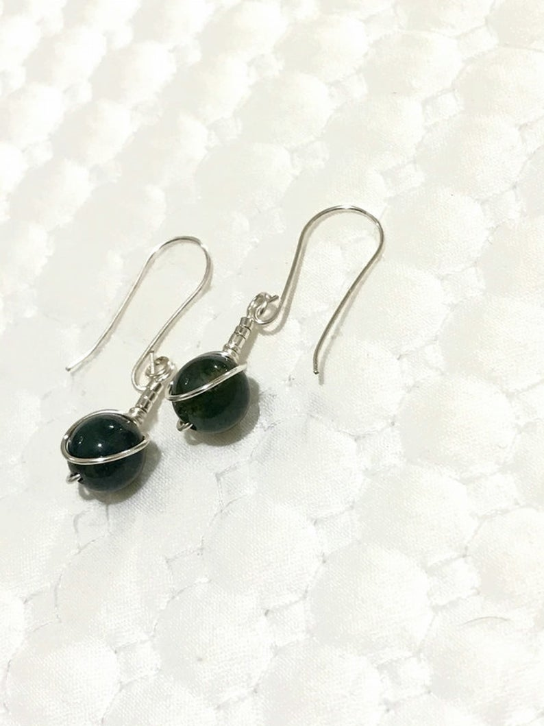 Green Moss Agate earrings - handcrafted