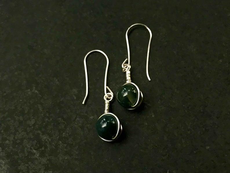 Green Moss Agate silver earrings, green earrings, green stone earrings
